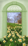 View through arched door, hill with wild narcissus Royalty Free Stock Images