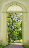 View through arched door, oak tree alley. View through arched door, green oak tree alley Royalty Free Stock Photography