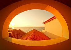 View through the arched window Crete Royalty Free Stock Photos