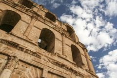 View on arched windows of ancient El Jem colloseum stock photography