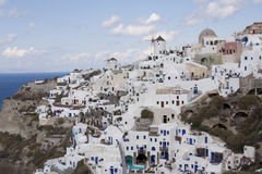 View on architecture at clif at Santorini Royalty Free Stock Photo
