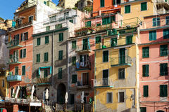 View on an architecture of Riomaggiore town. Riomaggiore is one of the most popular town in Cinque Terre National park, Italy stock image