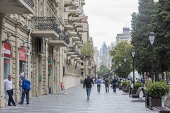 View of the architecture, streets, and buildings in Baku, in Aze royalty free stock image