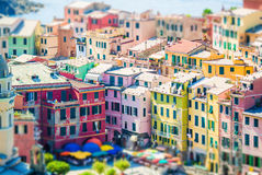 View on architecture of Vernazza town. Vernazza is one of the most popular old village in Cinque Terre, taly Stock Photo