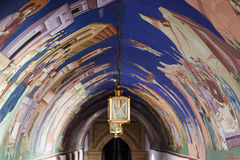View of archway murals and lantern. Royalty Free Stock Image
