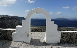 View through archway to aegean sea of santorini island Royalty Free Stock Photography