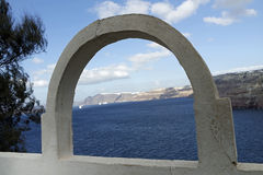 View through archway to aegean sea of santorini island Royalty Free Stock Image