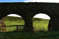 View Through the Archways of Sao Miguel. Scenic view through the archways of Sao Miguel stock photography