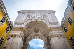 Arco da Rua Augusta in Lisbon. A view for the Arco da Rua Augusta from street level Royalty Free Stock Photography