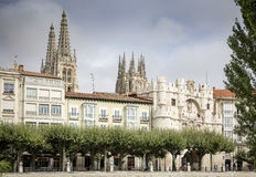 View of Arco de Santa Maria and the cathedral of Burgos city, Spain Stock Images