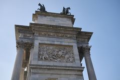 View of Arco della Pace. Milan, italy - February 10, 2018 : View of Arco della Pace in Milan Stock Photos