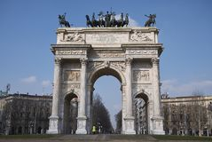 View of Arco della Pace. Milan, italy - February 10, 2018 : View of Arco della Pace in Milan Stock Photography