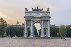 Milan - Arco della Pace. View of the Arco della Pace, triumphal arch in Milan, Italy . Evening , sunset time Stock Images