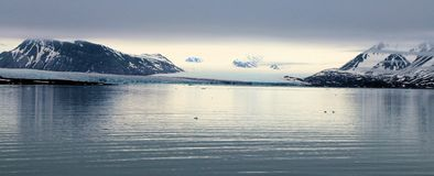 View of an Arctic landscape. A view of a glacier from The Arctic Ocean stock photos