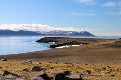 A view from the Arctic tundra. A view from the Arctic tundra, looking out to sea royalty free stock photography