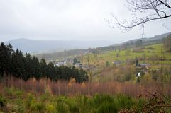 View of the Ardennes in Belgium. The Ardennes, situated in the south-east of Belgium, are one of nature`s unspoiled areas, rich in fauna and flora royalty free stock image
