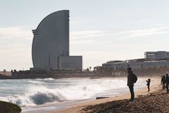 View area of the hotel Vela on Barceloneta beach stock images