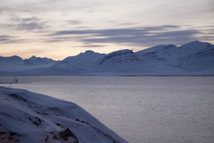 view of the area of the Russian settlement Barentsburg on Spitsbergen royalty free stock images
