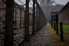 A view of an area used for executing prisoners of Auschwitz Conc stock photo