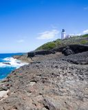 Arecibo lighthouse from Puerto Rico coast with rocky shore and ocean royalty free stock image