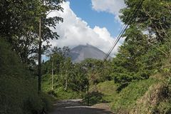 View of the Arenal Volcano in Costa Rica royalty free stock image