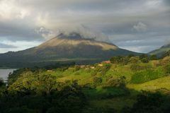 A view of Arenal volcano, Costa Rica. A view of Arenal volcano, Costa Rica at sunset Royalty Free Stock Images