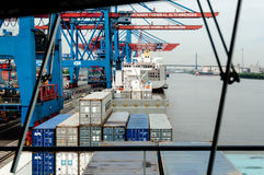 View from arge container ship at the Container Terminal Altenwerder in Hamburg Stock Photography