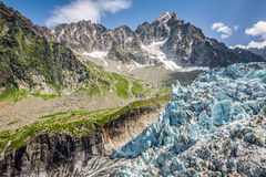 View on Argentiere glacier. Hiking to Argentiere glacier with th Royalty Free Stock Photos