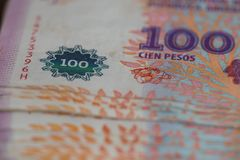View of the Argentinian money / pesos / business concept Stock Image