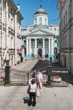 View of the Armenian Church on Nevsky Prospect. ST.PETERSBURG, RUSSIA - July 2, 2016: view of the Armenian Church on Nevsky Prospect. tourists and citizens on Stock Images