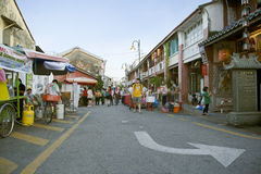 View of Armenian Street,George Town, Penang, Malaysia. Street view of people walking around within the George Town Royalty Free Stock Photo