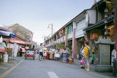 View of Armenian Street,George Town, Penang, Malaysia. Street view of people walking around within the George Town Heritage Enclave and the core zone of the Royalty Free Stock Images