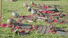 View of armor of ancient soldiers before reenactment of battle during festival stock video footage
