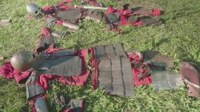 View of armor of ancient soldiers before reenactment of battle during festival stock footage