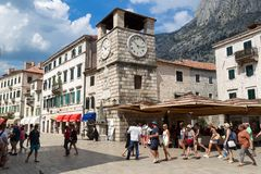 View of the Arms Square in the Old Town of Kotor. KOTOR, MONTENEGRO - July 25, 2018: View of the Arms Square in the Old Town of Kotor. Kotor is a city on the Stock Image