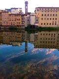 View of Arno in Florence, Italy. View of Arno with Building reflections in Florence, Italy Royalty Free Stock Images