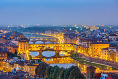 View on Arno river in Florence. Bridges over Arno river in Florence, Italy royalty free stock photography