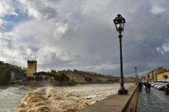 View of Arno River after the rain Florence Stock Photography
