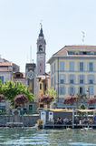 View of Arona village from the lake Royalty Free Stock Photo
