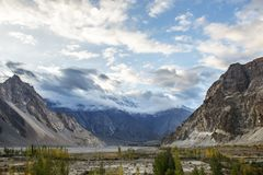 View around Passu village, Pakistan. Passu is a small village on the Karakoram Highway, beside the Hunza River of Pakistan Stock Image