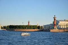 The view of the arrow with Rostral columns and Naval Museum and Stock Images