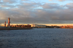 View on arrow of Vasilevsky Island with the Palace Bridge. Autumn evening in Saint-Petersburg Stock Images