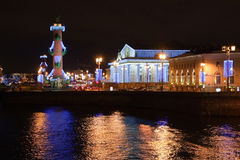 View on arrow of Vasilevsky island, St.-Petersburg Stock Image