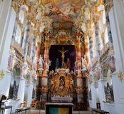 Art inside the Pilgrimage Church of Wies in Steingaden, Weilheim-Schongau district, Bavaria, Germany. View of art inside the Pilgrimage Church of Wies in royalty free stock photos