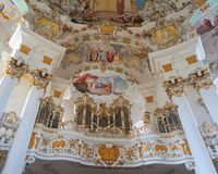 View of the art on the interior of the Pilgrimage Church of Wies in Steingaden, Weilheim-Schongau district, Bavaria, Germany. View of art inside the Pilgrimage stock image
