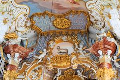 View of the art on the interior of the Pilgrimage Church of Wies in Steingaden, Weilheim-Schongau district, Bavaria, Germany. View of art inside the Pilgrimage royalty free stock images