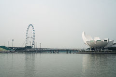 View of Art Science Museum and Ferris Wheel in Singapore Stock Photography