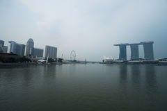 View of Art Science Museum, Marina Bay Sands and Ferris Wheel in Singapore Royalty Free Stock Photo