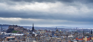 A view from arthur's seat - edinburgh. Edinburgh castle and the royal mile seen from arthur's seat Stock Photos