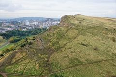 View from Arthur`s seat over meadowbank to Edinburgh castle royalty free stock photography